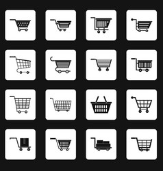 shopping cart icons set squares vector image