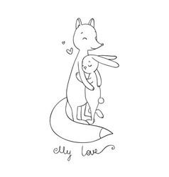 Lovely cartoon fox and hare happy animals vector