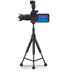 Camera on tripod vector