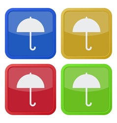 Set of four square icons with umbrella vector