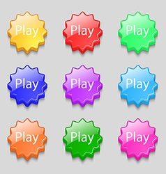 Play sign icon symbol symbols on nine wavy vector