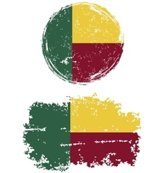 Benin round and square grunge flags vector
