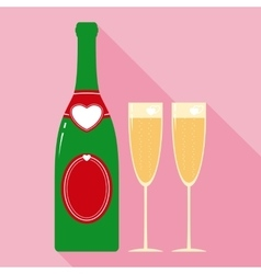 Valentine champagne bottle and two glasses in flat vector