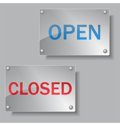 Glass open and closed boards vector