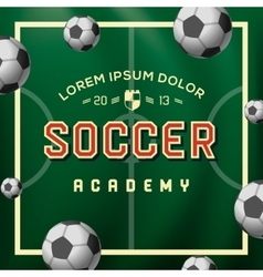 Soccer academy football soccer ball on the field vector