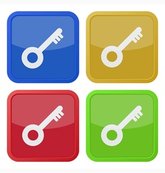 Set of four square icons with key vector