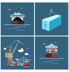 International freight transportation cargo icons vector