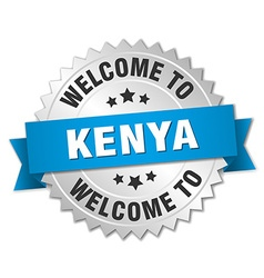 Kenya 3d silver badge with blue ribbon vector