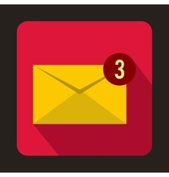 Yellow envelope with three messages icon vector