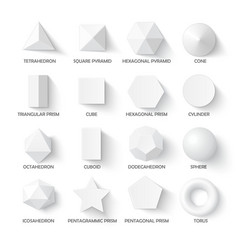 All basic 3d shapes vector
