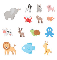 An unrealistic cartoon animal icons in set vector