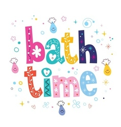 Bath time decorative lettering type design vector