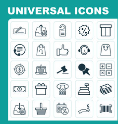 E-commerce icons set collection of tote bag vector