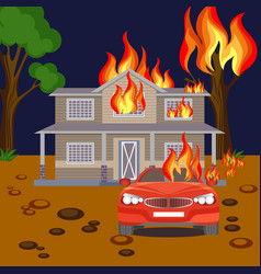 Fire banner reaistic burning house red vector