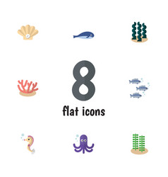 Flat icon nature set of cachalot tentacle tuna vector