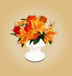 Flower bouquet in vase vector