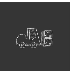 Forklift drawn in chalk icon vector