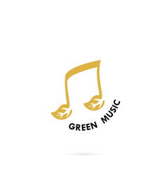 green leaves icon with musical note logo design vector image vector image