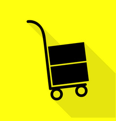 Hand truck sign black icon with flat style shadow vector