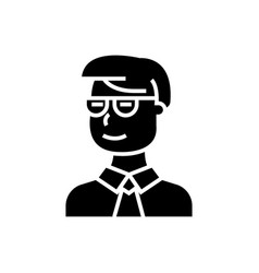 man student looking on side with glasses icon vector image vector image