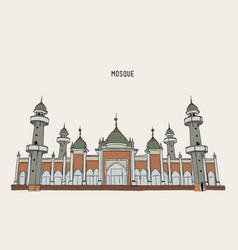 Muslim mosque hand draw sketch vector