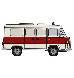 old red and white ambulance vector image vector image