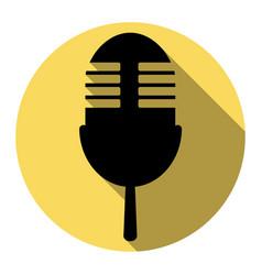 Retro microphone sign flat black icon vector
