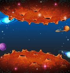 Scene with planets in galaxy vector