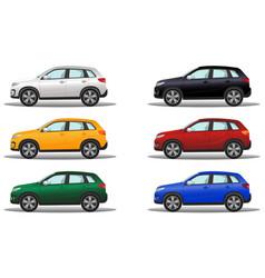 Set of luxury terrain vehicles in six different vector