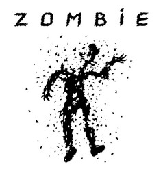 shooting a zombie from a machine gun vector image vector image