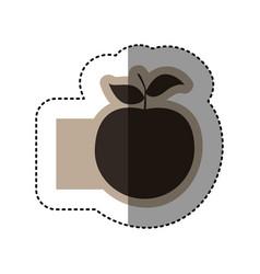 sticker monochrome emblem with apple fruit vector image