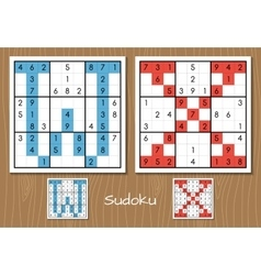 Sudoku set with answers w x letters vector