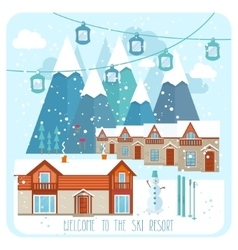 Welcome to the ski resort banner vector image