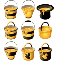 yellow honey bucket vector image