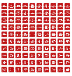100 coin icons set grunge red vector