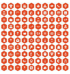 100 festive day icons hexagon orange vector