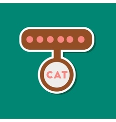 paper sticker on stylish background cat collar vector image