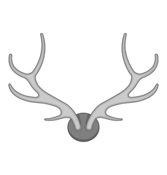 Deer antler icon black monochrome style vector