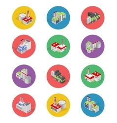 Isometric building factory icons with shadow vector