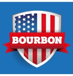 Bourbon ribbon on usa flag shield vector