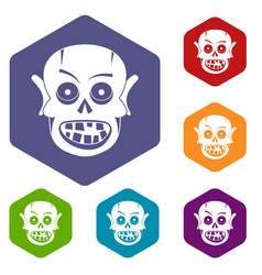 living dead icons set hexagon vector image
