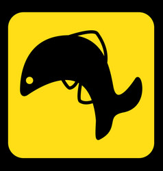 Yellow black sign - jumping fish dolphin icon vector