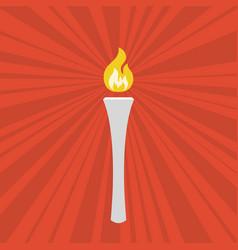 Torch symbol with sun burst background vector
