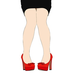 Beautiful legs of a woman wearing high heeled vector