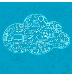 Social doodle icons in cloud vector image