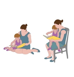 mother reading book to child vector image