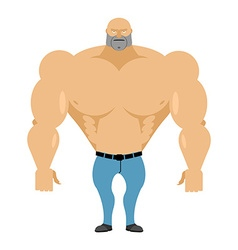 Strong man bare-chested in blue jeans athletic vector