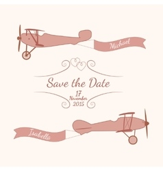 Retro planes with a wedding banner and names of vector image