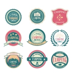 Set of vintage summer camp badges and outdoors vector