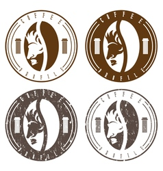 Vintage labels set of coffee bean with profile of vector